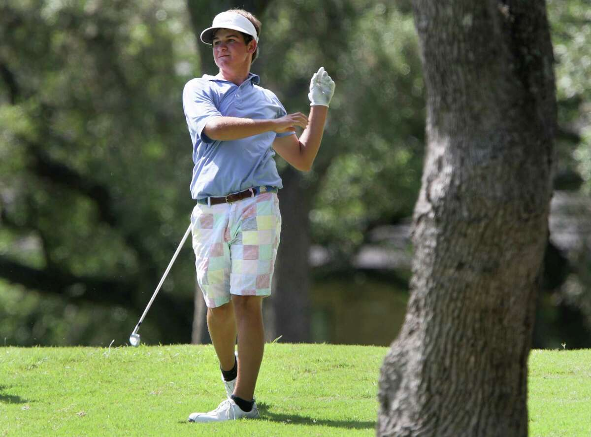 Mitchell Meissner, of San Antonio, releases his club after hitting an errant shot on the 17th hole at the AJGA Genesis Shootout presented by the Valero Texas Open on Thursday, July 11, 2013, at Fair Oaks Ranch Golf and Country Club on the Live Oak Course.