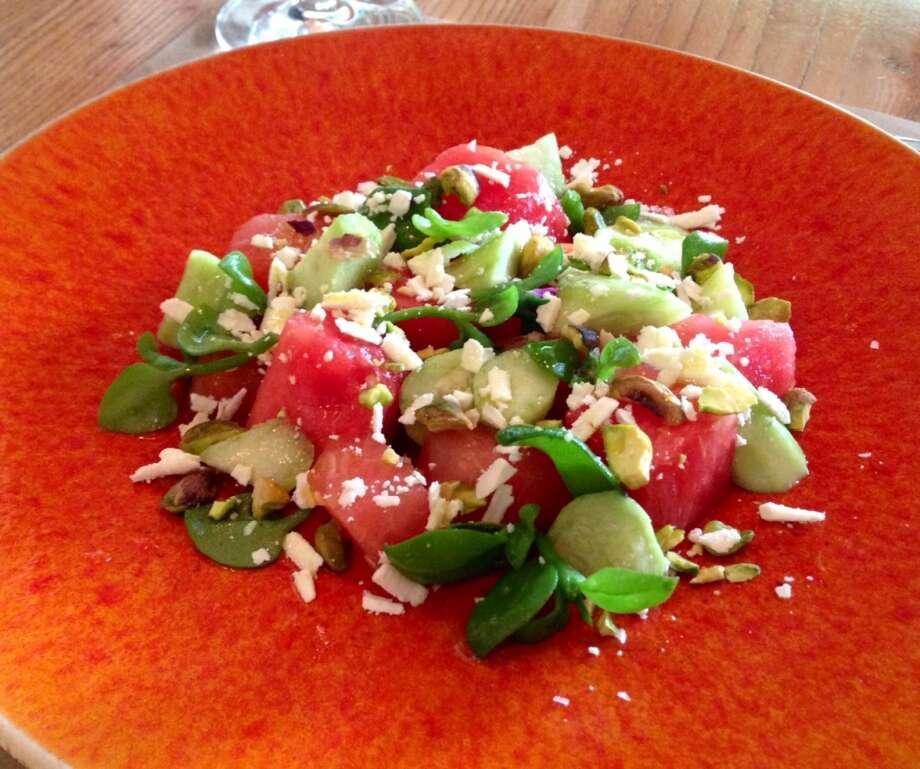 Watermelon and cucumber salad at Cotogna
