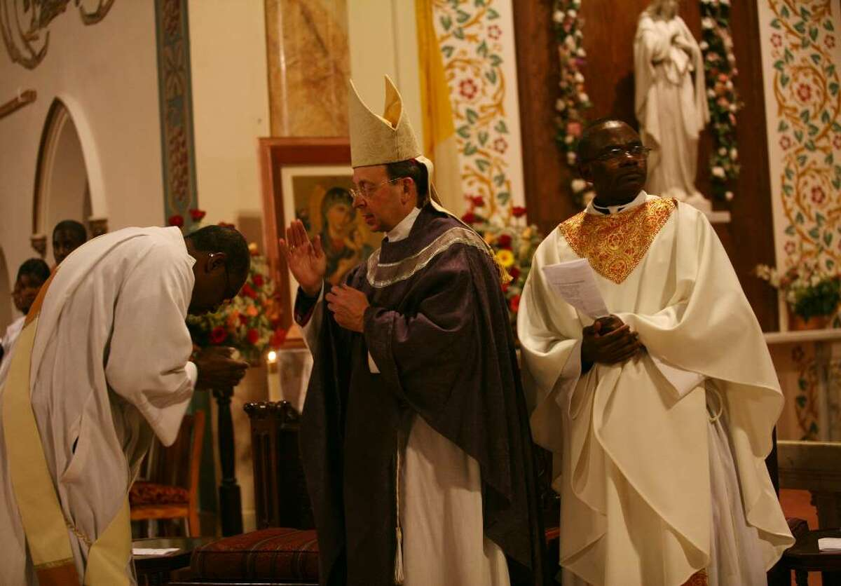Memorial mass for victims of the Haitian earthquake at St. Charles Borromeo Church in Bridgeport on Monday, January 18, 2010.