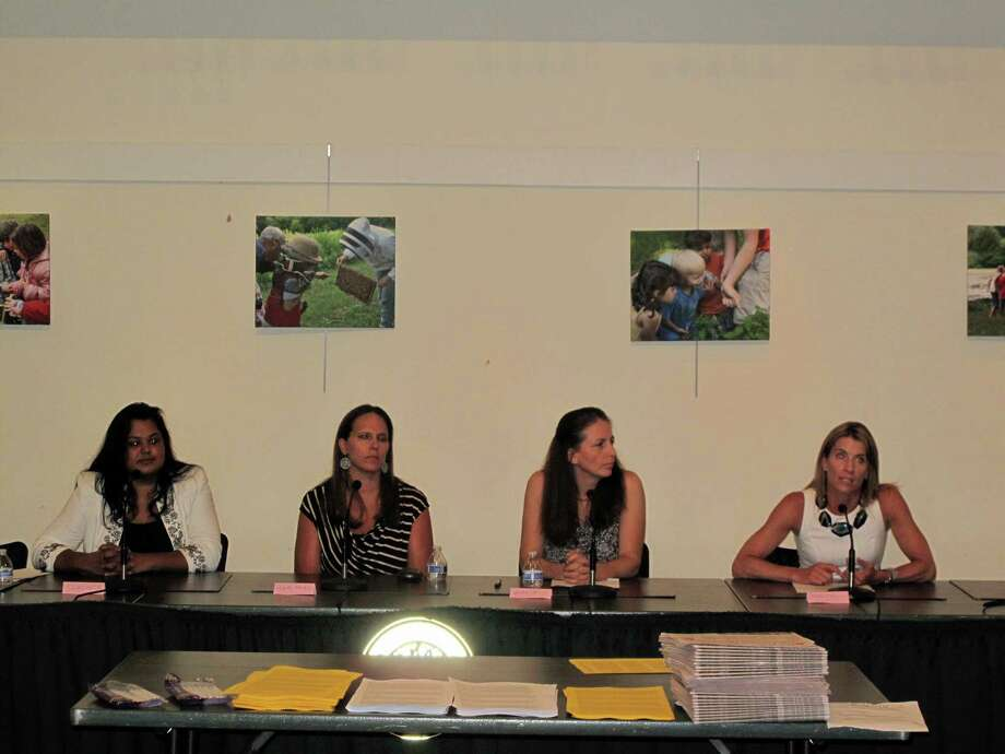 The Board of Education candidates, from left: Sangeeta Appel, Mary Anne Marcella, Maria Naughton, Jennifer Richardson. The Republican Town Committee held a forum for candidates at the New Canaan Nature Center Thursday night. Photo: Tyler Woods