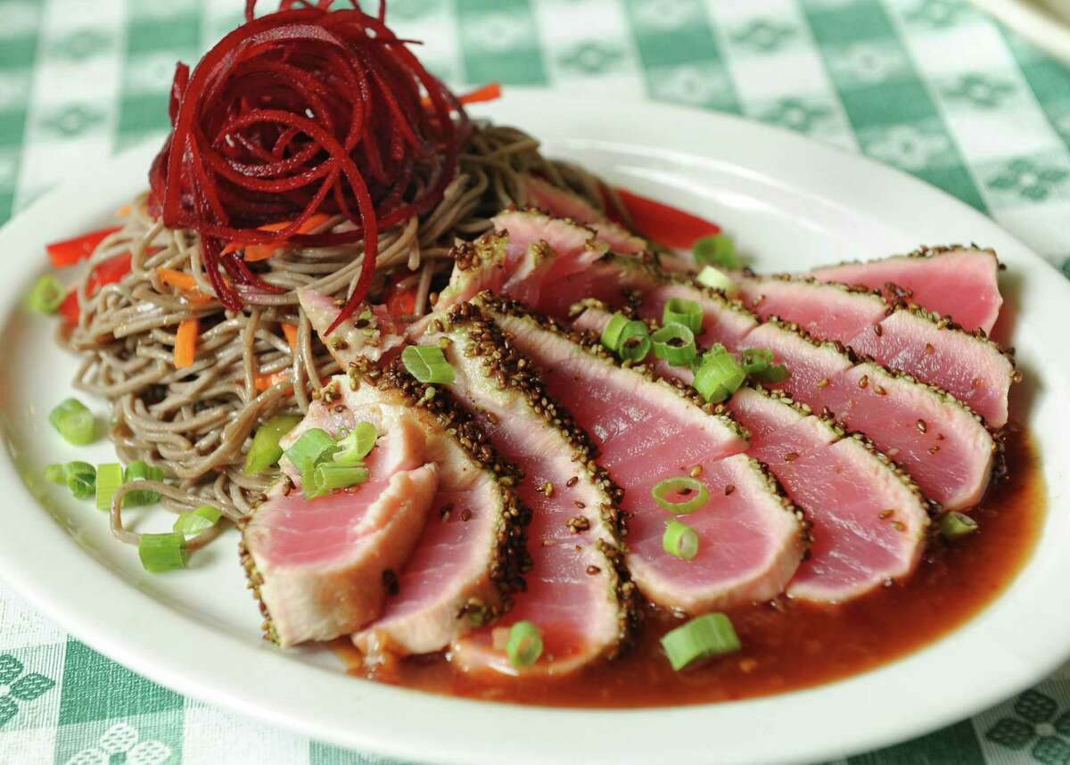 Wasabi encrusted tuna with Asian soba noodles at UpRiver Cafe on Monday, July 8, 2013 in Lake Luzerne, N.Y. (Lori Van Buren / Times Union)