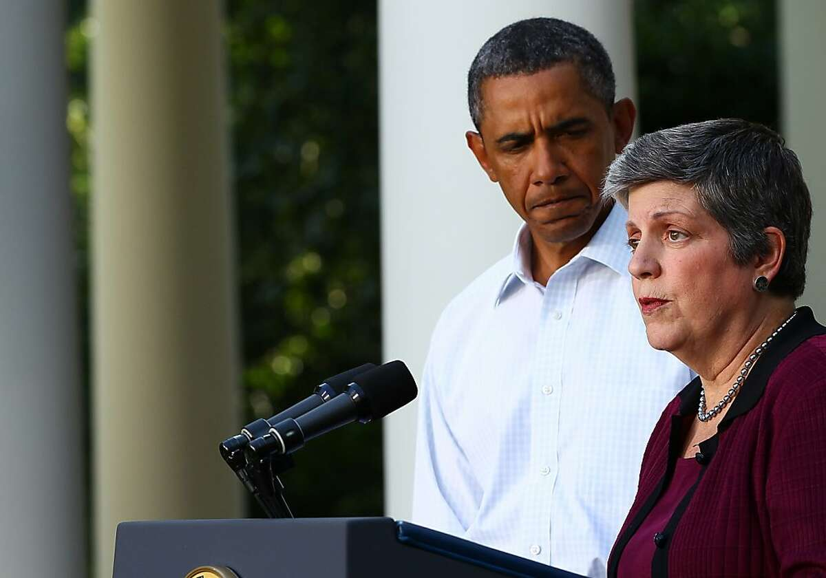 FILE - JULY 12: According to reports, U.S. secretary of Homeland Security Janet Napolitano will resign today to become the next president of the University of California. WASHINGTON, DC - AUGUST 28: Secretary of Homeland Security Janet Napolitano (R) speaks with U.S. President Barack Obama on the aftermath of Hurricane Irene from the Rose Garden of the White House August 28, 2011 in Washington, DC. Hurricane Irene killed at least 15 people and more than 4.5 million homes and businesses are without power due to the storm. (Photo by Win McNamee/Getty Images)