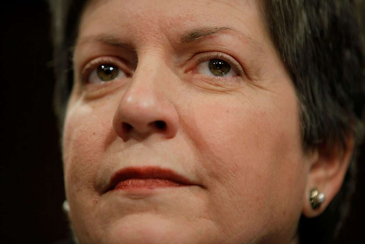 FILE - JULY 12: According to reports, U.S. secretary of Homeland Security Janet Napolitano will resign today to become the next president of the University of California. WASHINGTON - DECEMBER 09: Homeland Security Secretary Janet Napolitano testifies before the Senate Judiciary Committee December 9, 2009 in Washington, DC. Napolitano faced tough questions about the Obama Administration's plans for immigration reform and its inforcement of exisiting laws dealing with illegal aliens. (Photo by Chip Somodevilla/Getty Images)
