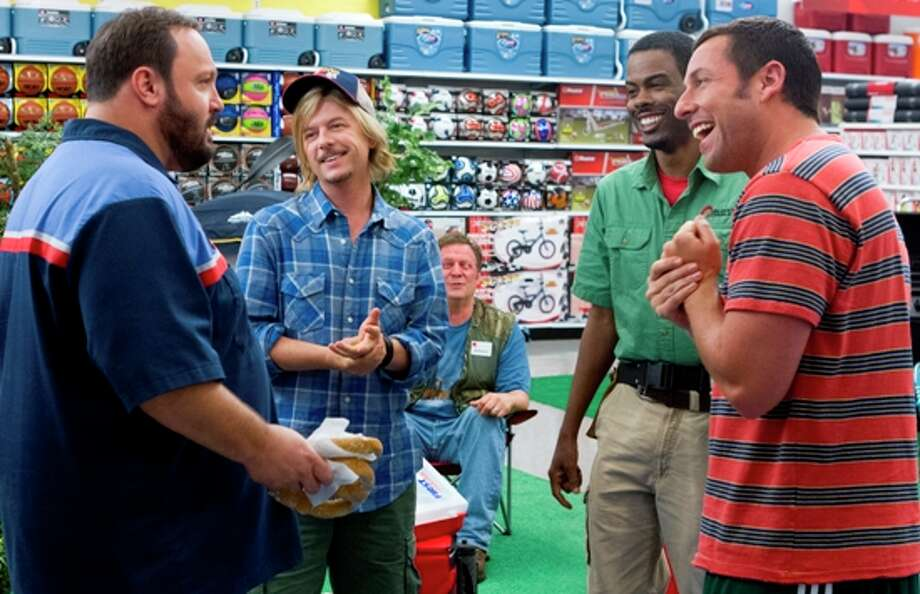 "3000 x 2000~~$~~This film publicity image released by Columbia Pictures shows, from left, Kevin James, David Spade, Jonathan Loughran, seated, Chris Rock, and Adam Sandler in a scene from ""Grown Ups 2."" Photo: Tracy Bennett"