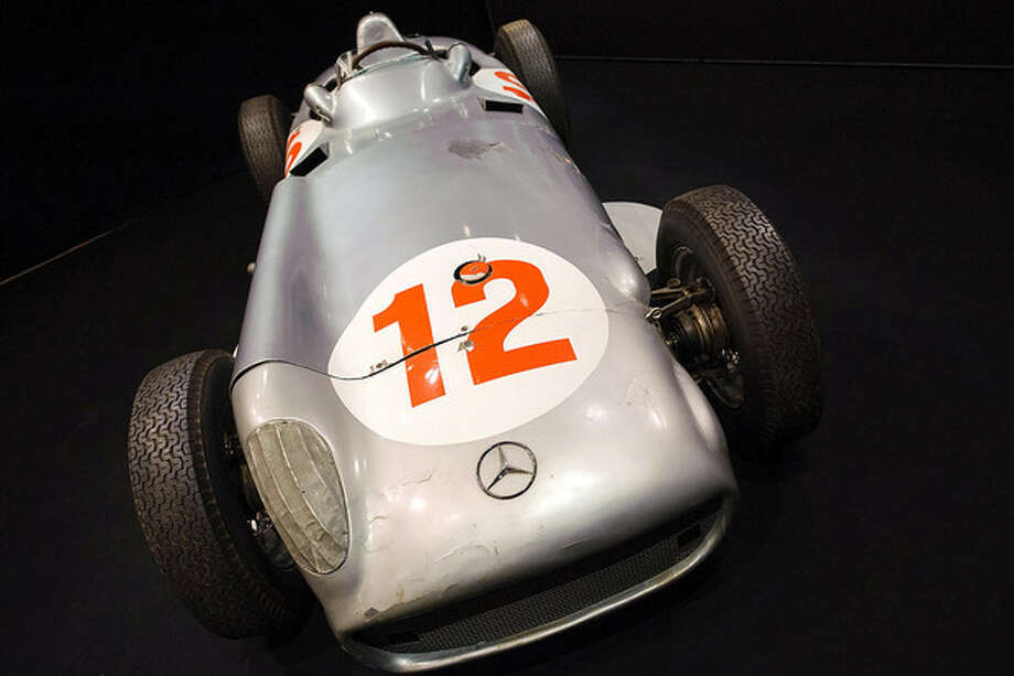 The 1954 2.5 litre Mercedes-Benz W196 Formula 1 Grand-Prix single-seater driven by Juan Manuel Fangio, at Bonhams in central London, on July 10, 2013.