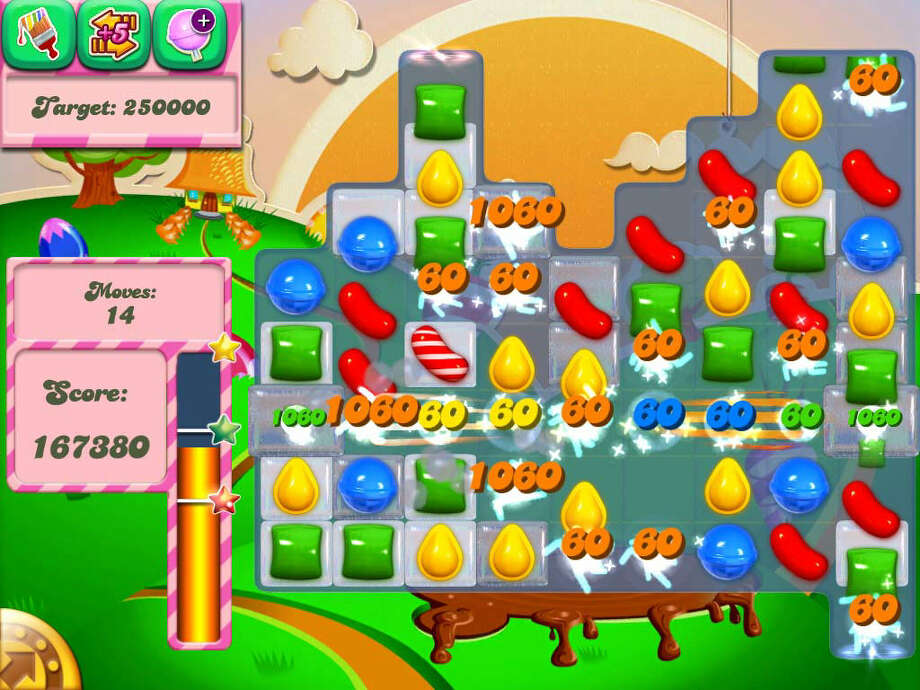 "Match candies with ""Candy Crush Saga."" This app game features 380 levels. That's a lot of candy. Photo: Courtesy Illustration"