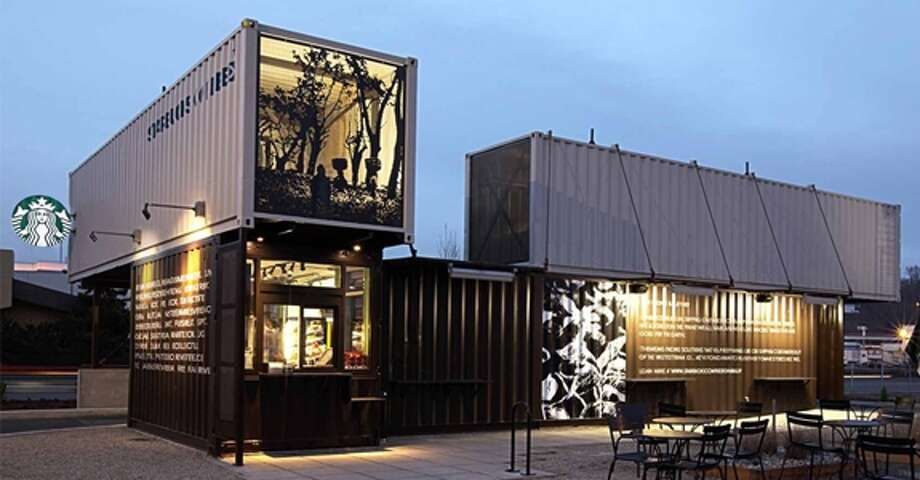 Now here's a look at the most unusual Starbucks in the world, starting with the best Starbucks in a box. Make that four boxes. This compact Tukwila, Wash., drive-thru is made from four reclaimed shipping containers, which has made enviros happy.