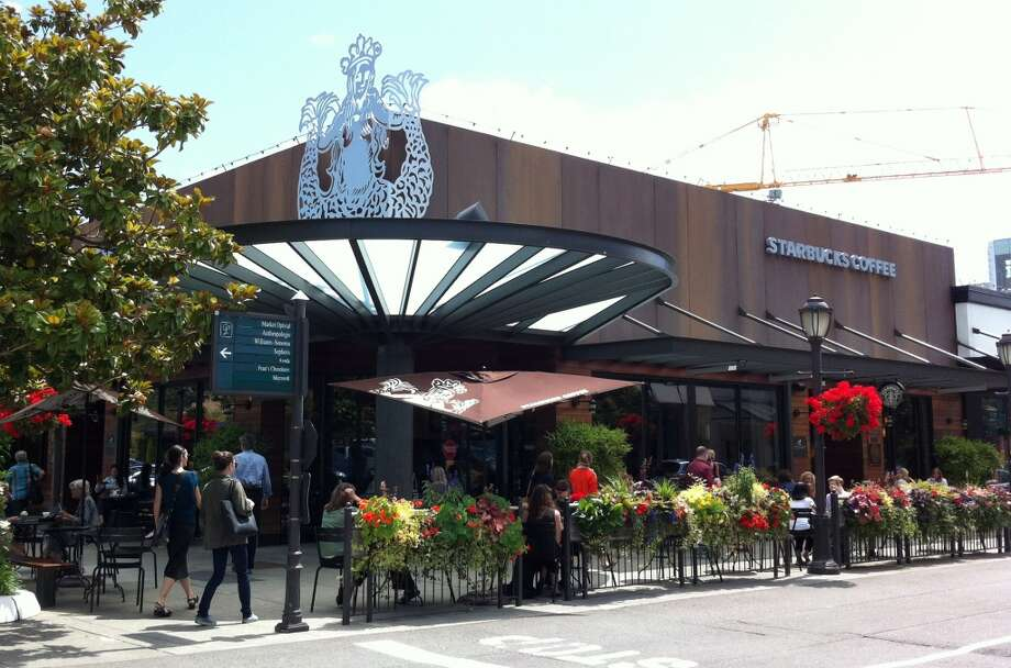 U Village Starbucksin Seattle today. It introduced this remodel in 2009, featuring lots of reclaimed materials.