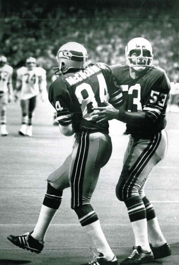 Here, the lack of a sleeve logo is visible again. The Seahawks also wore black shoes for the first few years. Photo: Grant M. Haller, Seattle P-I File