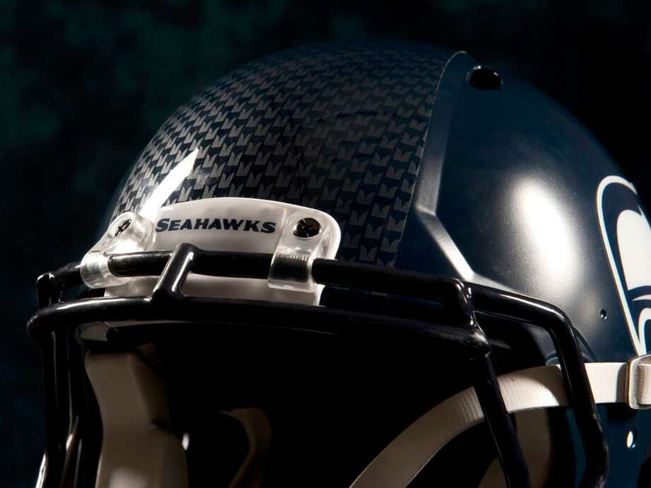 The feather stripe is more visible in this helmet close-up. Photo: Seahawks Image
