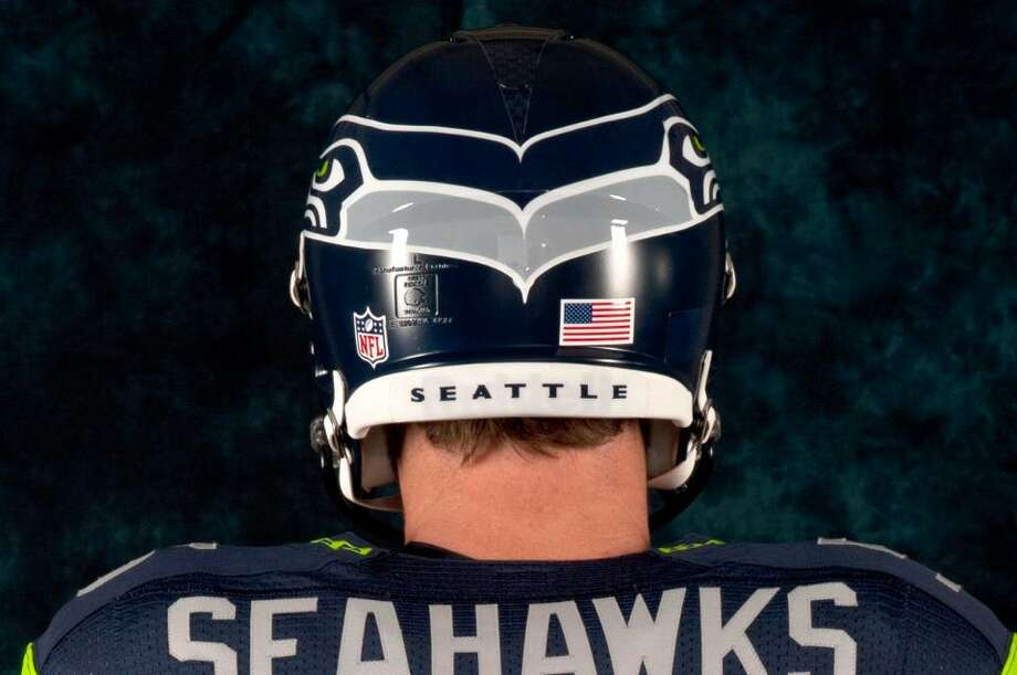 The Seahawks logo on the helmet connects at a point in the back. Photo: Seahawks Image