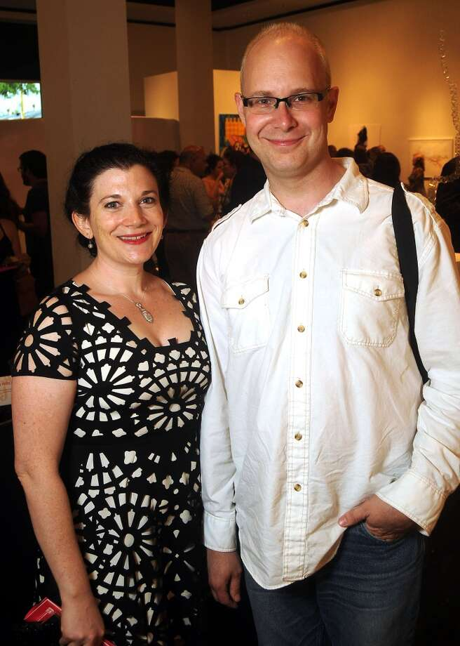 Spector and Bradley Dean Whyte at a preview party for The Big Show at the Lawndale Art Center Thursday July 11, 2013.(Dave Rossman photo)