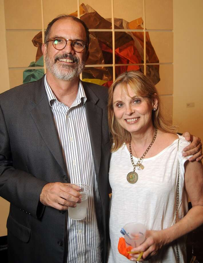 Andy Dearwater and Sharon Babbitt at a preview party for The Big Show at the Lawndale Art Center Thursday July 11, 2013.(Dave Rossman photo)