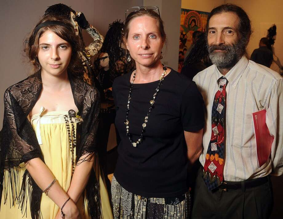 From left: Avril Falgout, Michelle Falgout and Paul Falgout at a preview party for The Big Show at the Lawndale Art Center Thursday July 11, 2013.(Dave Rossman photo)