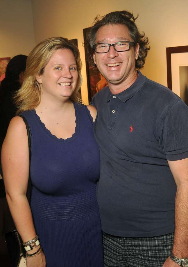 Mary Clarkson and Scott Peveto at a preview party for The Big Show at the Lawndale Art Center Thursday July 11, 2013.(Dave Rossman photo)
