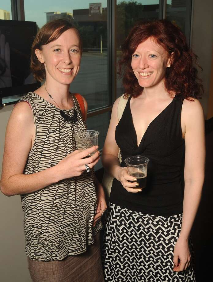 Jessica Kruetter and Susannah Mira at a preview party for The Big Show at the Lawndale Art Center Thursday July 11, 2013.(Dave Rossman photo)