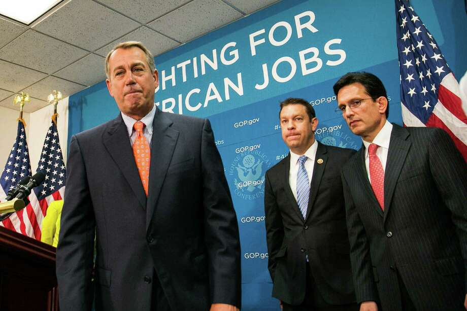 All talk? Speaker of the House John Boehner (from left), Rep. Trey Radel and House Majority Leader Rep. Eric Cantor:  GOP leaders should pursue a reform agenda while opposing Obama. Photo: Drew Angerer / Getty Images