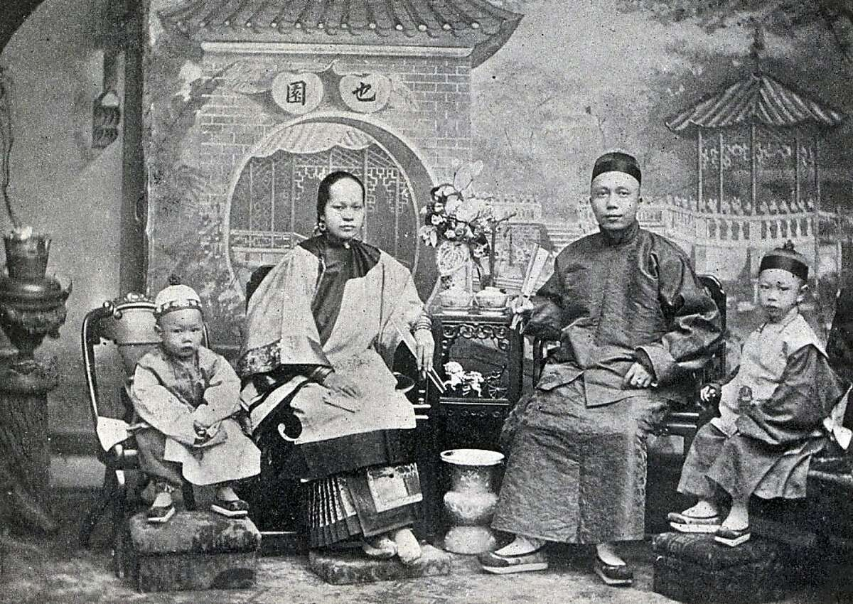 """Fong """"Little Pete"""" Ching (second from right) was the king of Chinatown in 1897. As leader of the Sam Yup Tong, the 32-year-old was rumored to have killed 50 men, and was worth more than $150,000 - a fortune in those days - in gains from his empire built on prostitution, gambling and opium. Little Pete never went anywhere without a bodyguard, plus two German shepherds, two pistols, a chain-mail armor vest, and a hat reinforced with metal to function as a helmet. But on Jan. 23, Little Pete let down his guard. He was getting the finishing touches on a shave at the Wong Lung barbershop at 819 Washington St. when two gunmen burst in and held him down. They shoved a .45-caliber revolver under the chain mail and pumped five bullets into his spine, then two more into his head.  By the time the police came, The Chronicle wrote, """"Little Pete's face, clean shaven, powder-marked and bloody, was setting into the fixed stare that marks death."""" Nobody was ever convicted."""