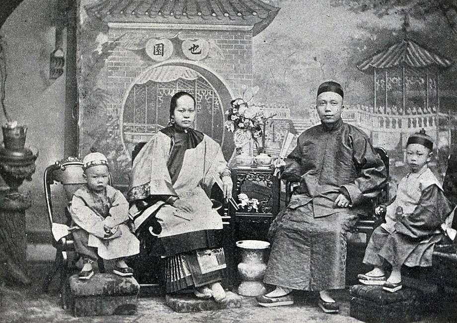 "Fong ""Little Pete"" Ching (second from right) was the king of Chinatown in 1897. As leader of the Sam Yup Tong, the 32-year-old was rumored to have killed 50 men, and was worth more than $150,000 - a fortune in those days - in gains from his empire built on prostitution, gambling and opium. Little Pete never went anywhere without a bodyguard, plus two German shepherds, two pistols, a chain-mail armor vest, and a hat reinforced with metal to function as a helmet. But on Jan. 23, Little Pete let down his guard. He was getting the finishing touches on a shave at the Wong Lung barbershop at 819 Washington St. when two gunmen burst in and held him down. They shoved a .45-caliber revolver under the chain mail and pumped five bullets into his spine, then two more into his head.