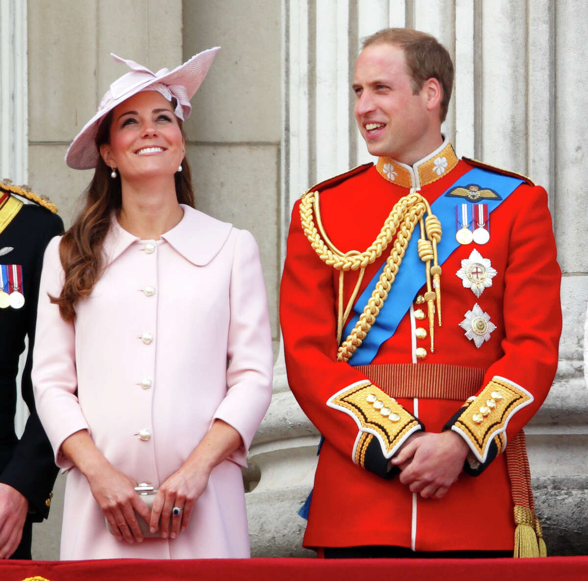Catherine, Duchess of Cambridge and Prince William, Duke of Cambridge stand on the balcony of Buckingham Palace during the annual Trooping the Colour Ceremony on June 15, 2013 in London, England.