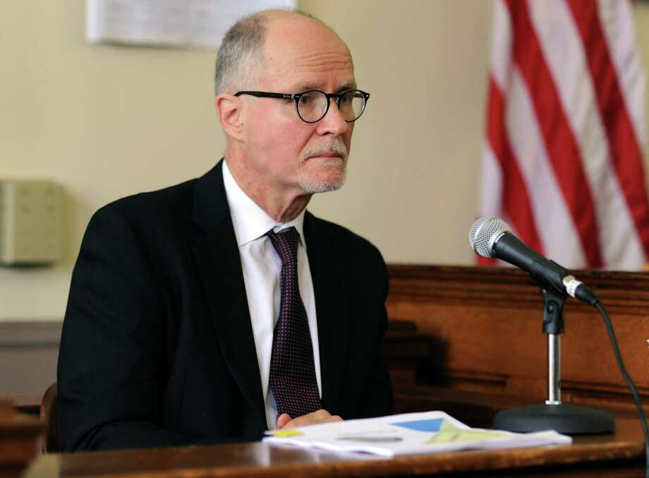 Paul Vallas testifies during a hearing before Judge Barbara Bellis in Bridgeport Superior Court Wednesday, July 10, 2013 to decide if he needs to vacate the Bridgeport superintendent seat immediately. Judge Bellis ruled to dissolve the stay that was keeping Vallas in his job pending an appeal. Photo: Autumn Driscoll / Connecticut Post