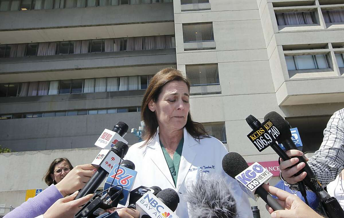 San Francisco General Hospital and Trauma Center's Margaret Knudson, MD, Chief of Surgery on Friday July 12, 2013, finishes providing an update on an Asiana Airlines crash victim, a minor female who was in critical condition unfortunately passed away this morning at San Francisco General Hospital in San Francisco, Calif.