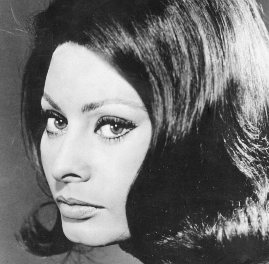 A close up Sophia Loren showing off her thick locks and full lips.