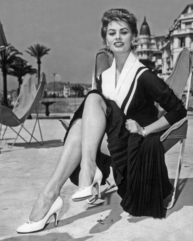 Sophia Loren on the beach during the Cannes Film Festival, Cannes, France, 1954.