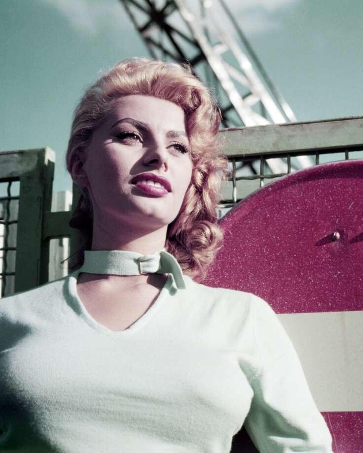 In this 1954 shot,Loren shows off her blonde 'do.