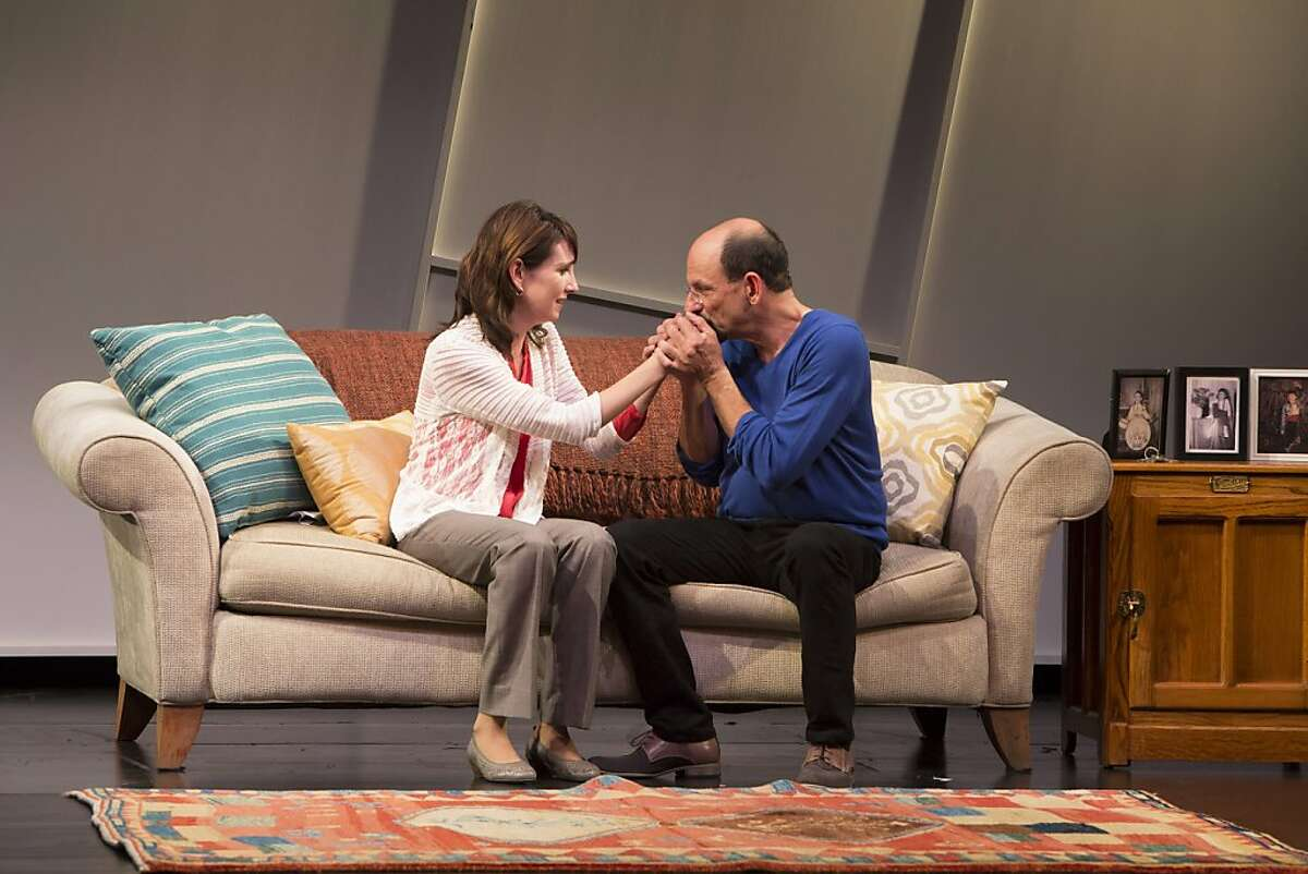 Haylee (Julie Fitzpatrick, left) and Julian (Adrian Blue) share a tender moment in