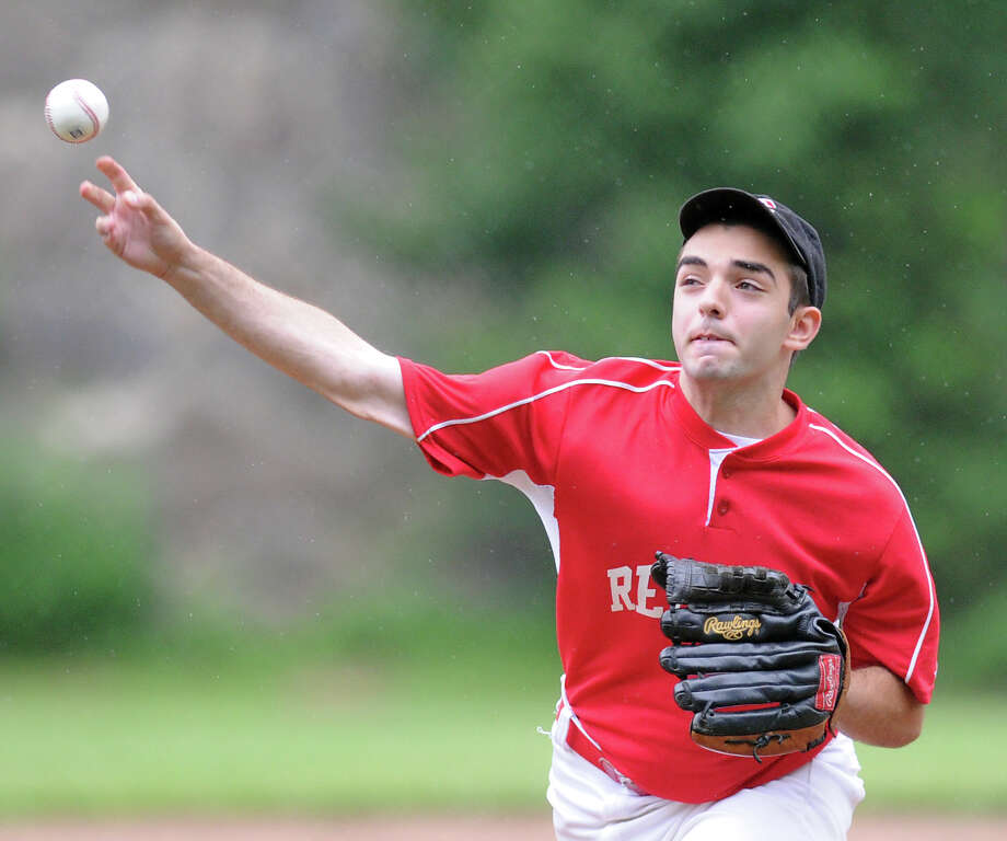 Redmen pitcher Dean Girardi throws against BANC in the Senior Babe Ruth baseball winner's bracket final at Havemeyer Field in Greenwich, Friday evening, July 12, 2013. Photo: Bob Luckey / Greenwich Time