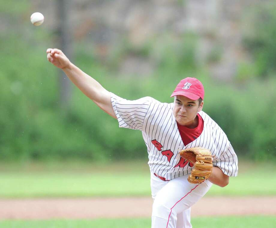 BANC pitcher Peter Delepine throws against the Redmen in the Senior Babe Ruth baseball winner's bracket final at Havemeyer Field in Greenwich, Friday evening, July 12, 2013. Photo: Bob Luckey / Greenwich Time