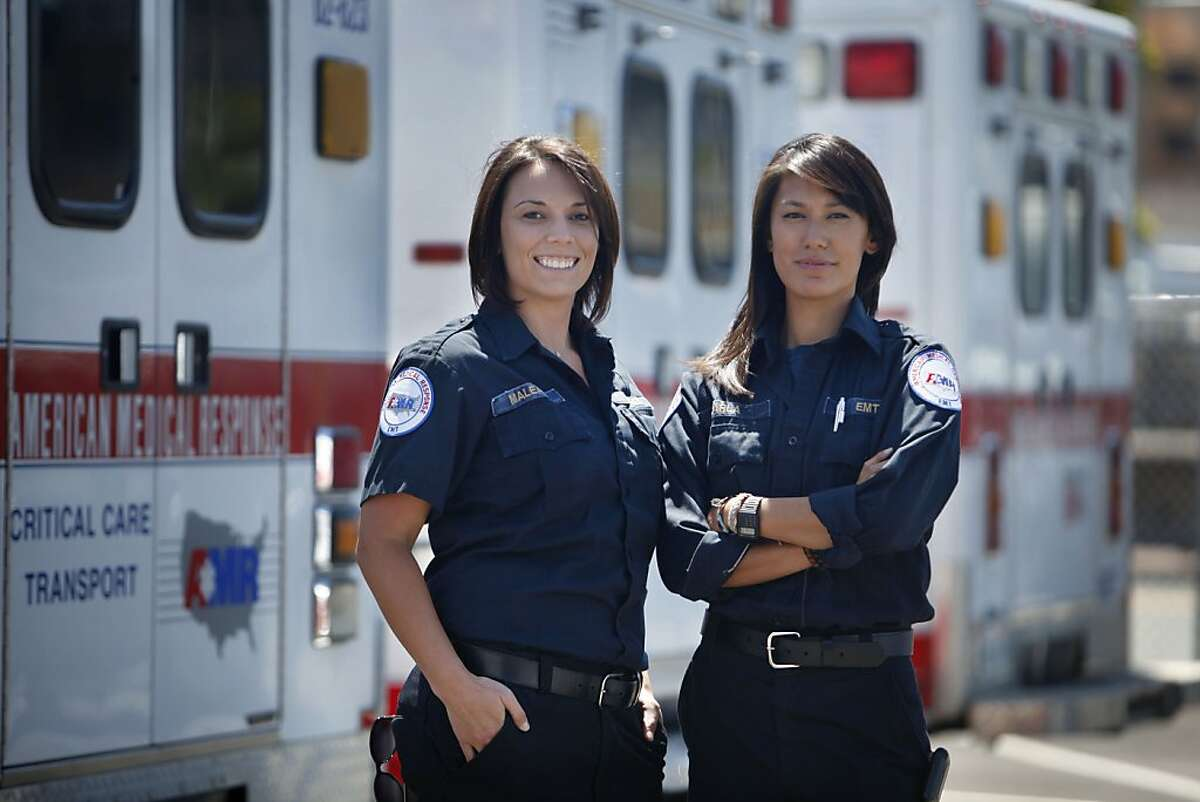 American Medical Response emergency medical technicians Maleah Goodreau (l to r) and Karla Louie are seen at the American Medical Response San Francisco operation on Friday, July 12, 2013 in San Francisco, Calif.