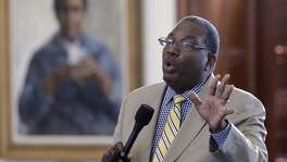 Sen. Royce West, D-Dallas, asks questions about the abortion bill.