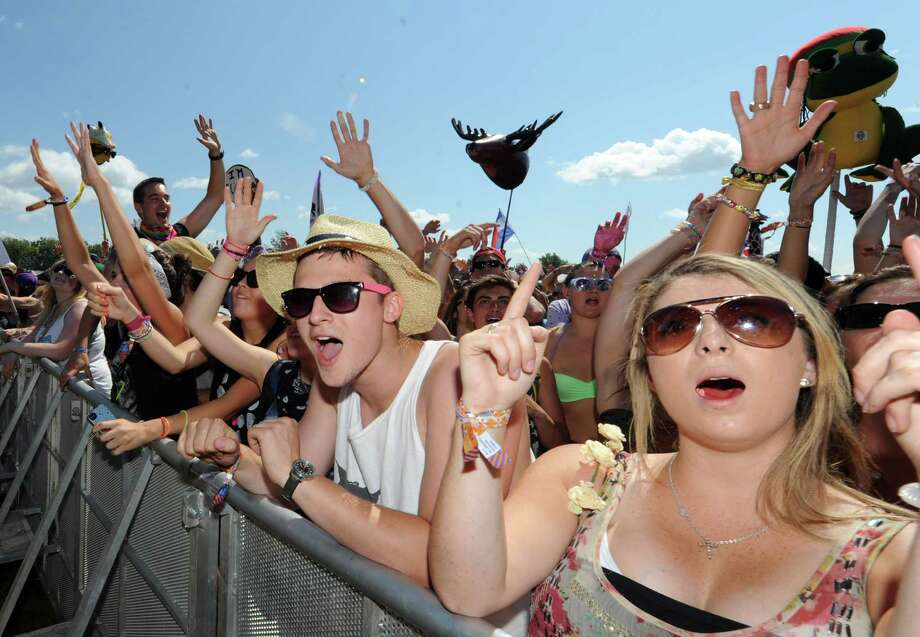 Fans listen to the digital sounds of Cherub during Camp Bisco Thursday afternoon, July 11, 2013, in Mariaville, N.Y. (Michael P. Farrell/Times Union) Photo: Michael P. Farrell / 00023098A