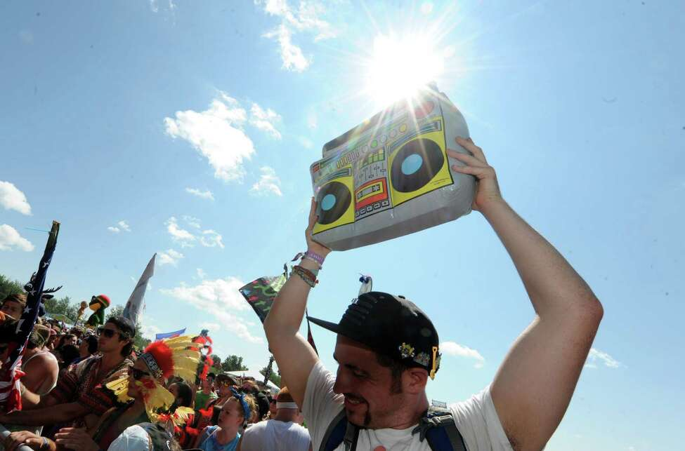 Fans listen to the digital sounds of Cherub during Camp Bisco Thursday afternoon, July 11, 2013, in Mariaville, N.Y. (Michael P. Farrell/Times Union)