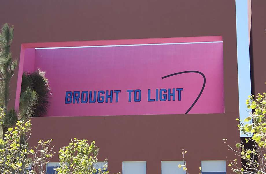 """""""Brought to Light Subsequently Allowed to Dissipate"""" (2011), mural by Lawrence Weiner at UCSF's Mission Bay campus. Photo: Unknown"""