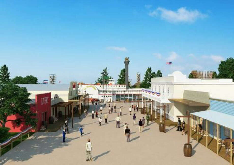 A preliminary rendering of a portion of Grand Texas Theme Park in New Caney, 30 miles northeast of Houston. Construction is to begin before the end of this year. Photo: Courtesy Of Grand Texas Theme Park