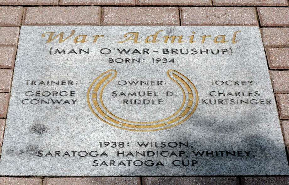 "Detail of War Admiral's spot on the ""Hoofprints Walk of Fame"" at Saratoga Race Course Friday morning, July 12, 2013, in Saratoga Springs, N.Y. (Michael P. Farrell/Times Union) Photo: Michael P. Farrell / 10023127A"