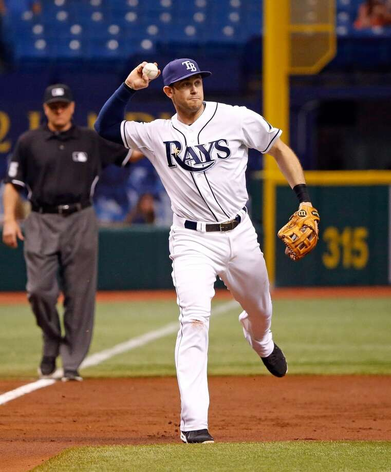 Evan Longoria throws to first for an out.