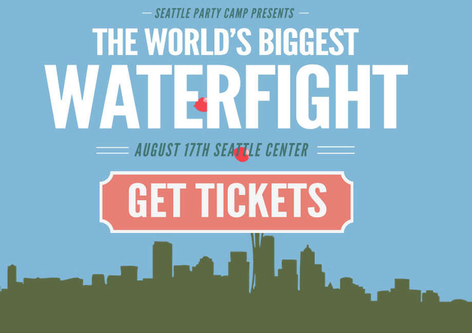 "Promo for ""The World's Biggest Water Balloon Fight,"" planned for Aug. 17 at Seattle Center. Photo: Seattle Party Camp"