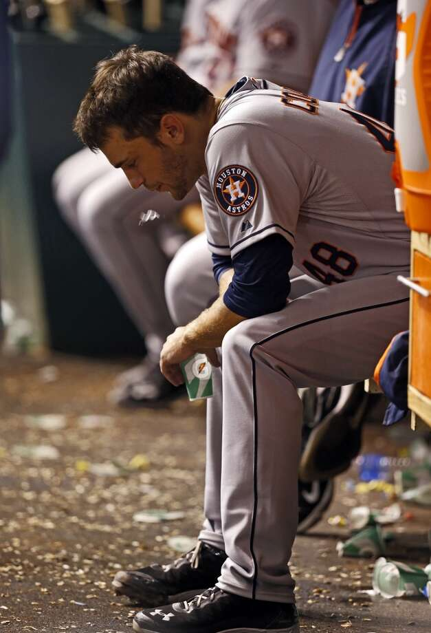 Astros starting pitcher Jarred Cosart reacts after being removed from his Major League debut.