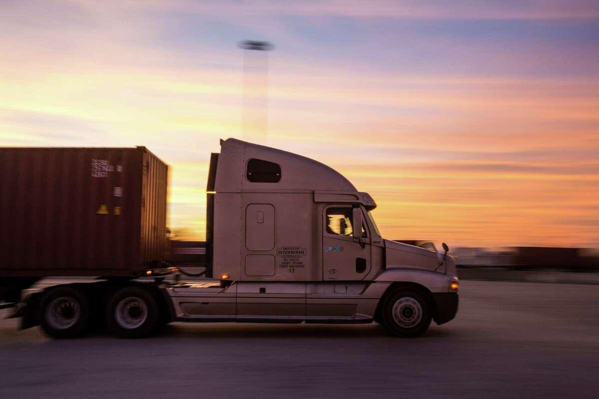Cargo moves through the Port of Houston. Houston leads among U.S. exporters.