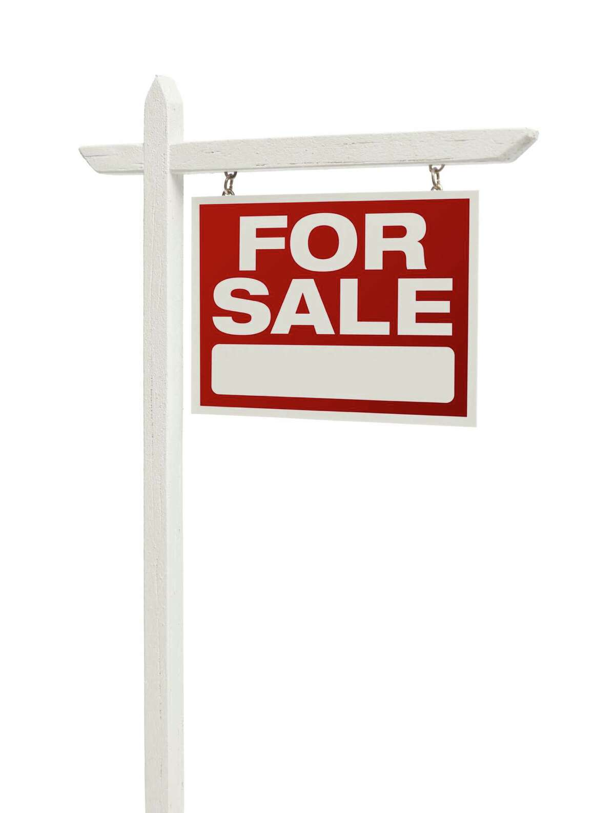 Red For Sale Real Estate Sign on White with Clipping Path Isolated on a White Background. FOTOLIA