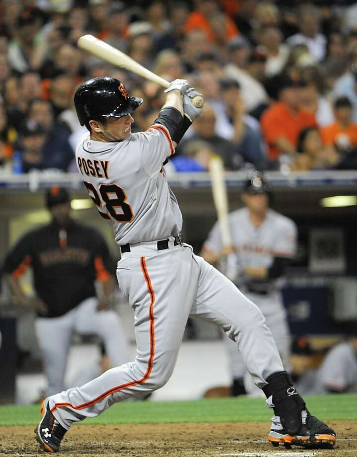 Buster Posey had five RBIs, the third time he has done it in his career. Photo: Denis Poroy, Getty Images