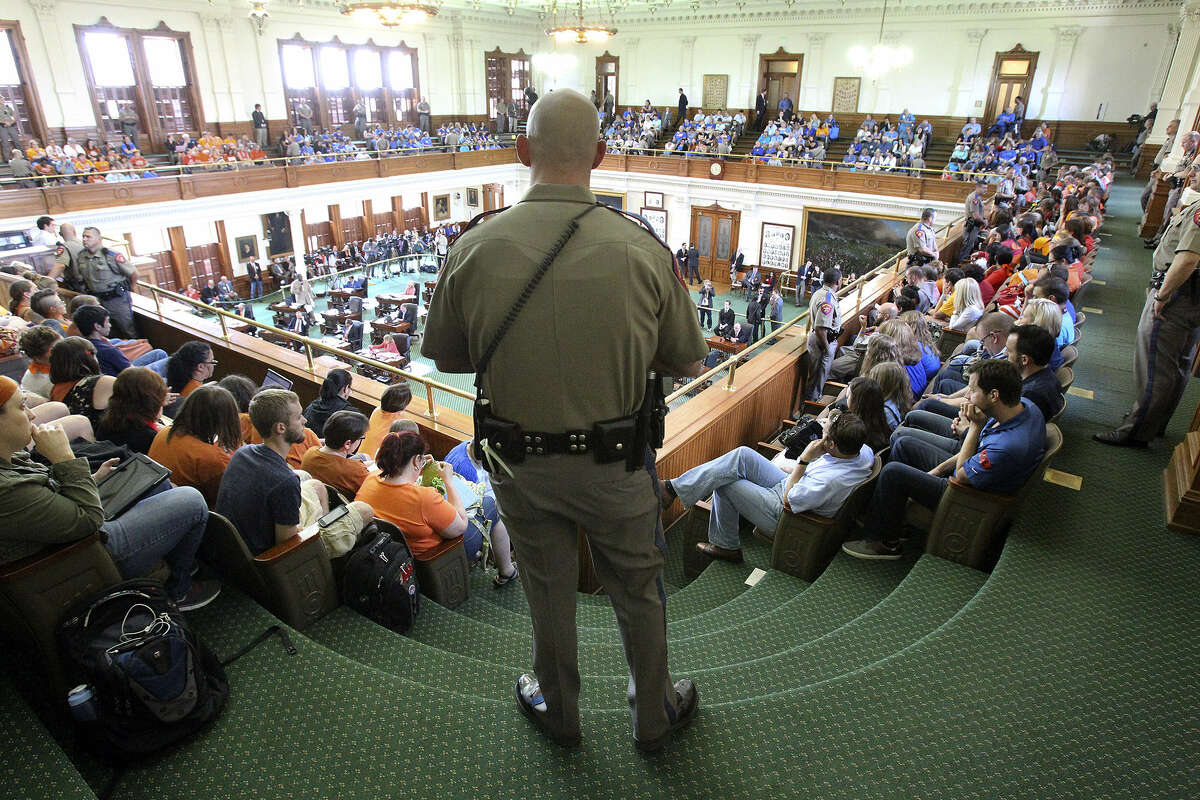 Department of Public Safety troopers were very much a part of the scenery in the Senate gallery.