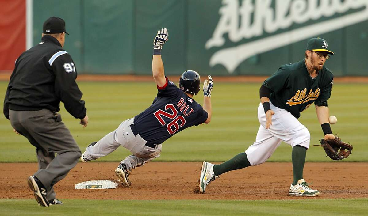 Eric Sogard can't get the throw from John Jaso after Brock Holt knocked in two runs in the second inning. Holt went to third on the error. The Oakland Athletics played the Boston Red Sox on Friday, July 12, 2013, at the O.co Coliseum in Oakland, Calif.