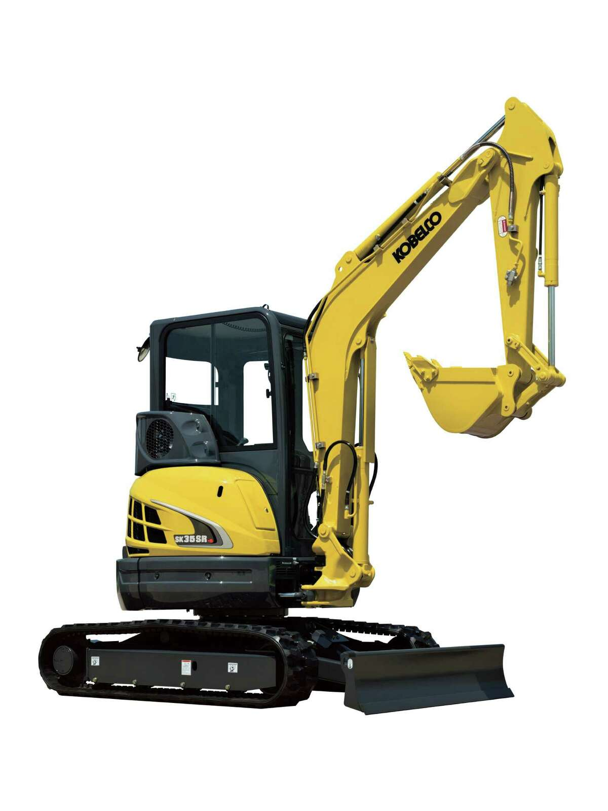 The Kobelco SK35SR model weighs 12,295 pounds and has a short radius. Its compact size makes it agile on the jobsite.