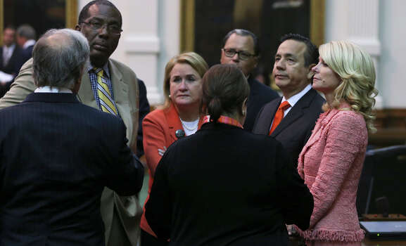 Democrats gather after the Senate passes abortion legislation on July 12, 2013. Photo: Tom Reel, San Antonio Express-News