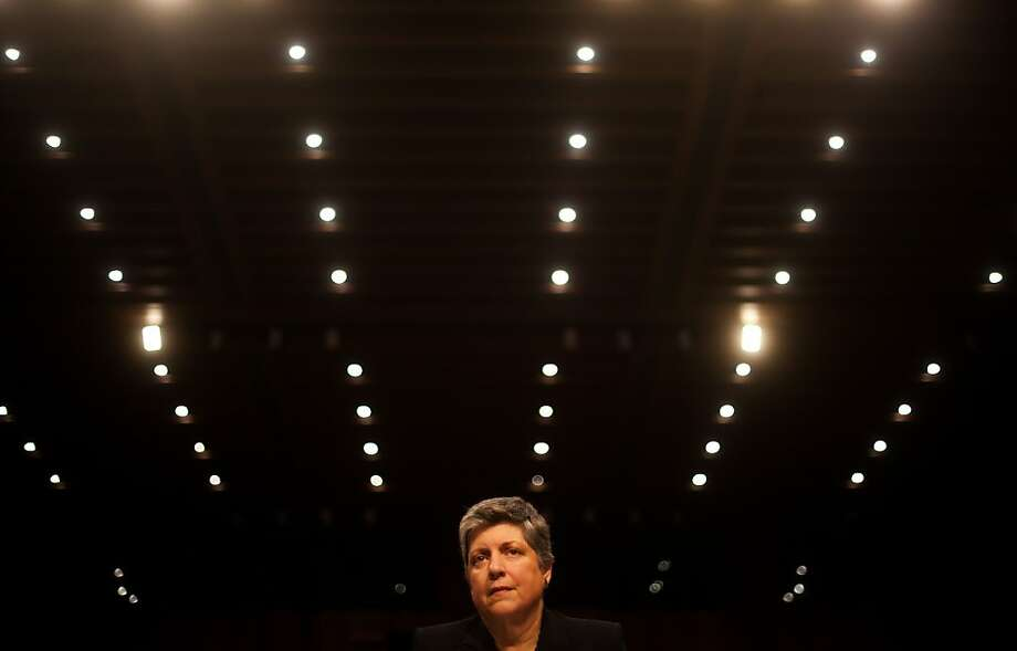 US Homeland Security Secretary Janet Napolitano testifies before the Senate Judiciary Committee on Capitol Hill in Washington, DC, February 13, 2013, on comprehensive immigration reform. Napolitano told the Senate that a new legalization law for illegal immigrants won?t lead to the same flood that followed the last amnesty in 1986, saying that the border has been secured too well for that to happen.              AFP PHOTO/Jim WATSON        (Photo credit should read JIM WATSON/AFP/Getty Images) Photo: Jim Watson, AFP/Getty Images